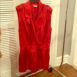 Red sleeveless romper
